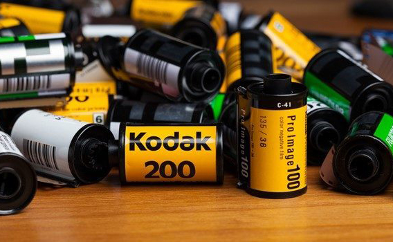 A number of Kodak photo films on a table